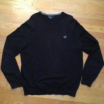 FRED PERRY Black Sweater Round Neck Long Sleeve Regular Pullover shirt XL mod oi