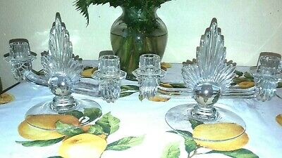 Art Deco Clear Glass Candlesticks Holders Pair Flame Design