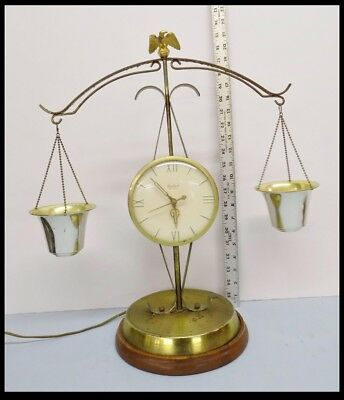 Vintage United Clock Eagle Model 207 Mantle Scale of Justice Electric Made USA