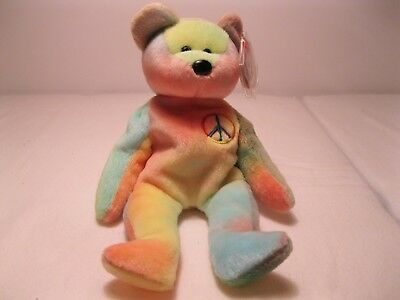 Ty BEANIE BABY !! RARE WITH ERRORS !! RETIRED 1996 'PEACE' TIE-DYED BEAR MWMT!