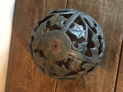 Antique Victorian Cast Iron  LAMP Shade  FLORAL