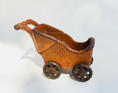 Old Cast Iron Toy Carriage Stroller Buggy 1930s Nice Original Orange Paint