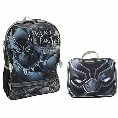 Marvel Black Panther Backpack Book bag Lunch Box SET -  Avengers - Free Shipping