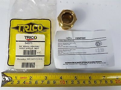 Trico 34371 3/4-inch Brass Viewport with glass without baffle BPST 4210 - New