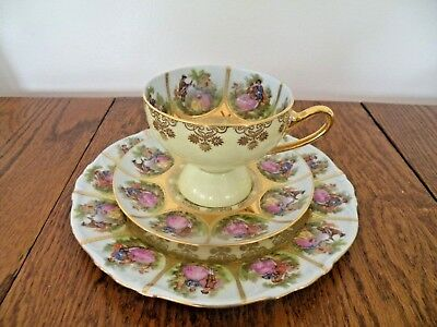 Vintage Western Germany Love Story Cup And Saucer Trio Lots Of Gold