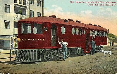 c1907 Postcard Motor Car, La Jolla CA Los Angeles & San Diego Beach Railway