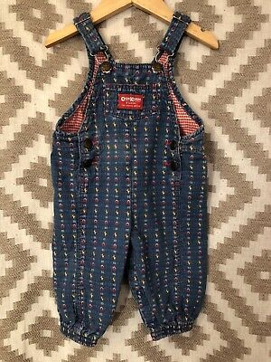 Vintage OshKosh Vestbak Denim Overalls 18 Months Farm Barn Chickens Woven