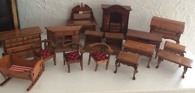 Lot wooden Dollhouse Furniture Miniatures dresser crib hutch~more not pictured