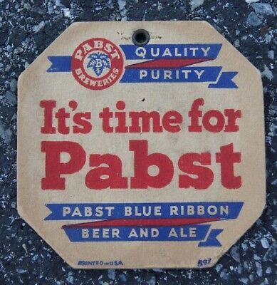 PABST BLUE RIBBON HANGING COASTER VINTAGE 1930s 1940s RARE HARD TO FIND DOUBLE S