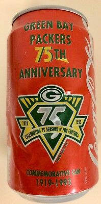 Vintage Green Bay Packers 75th Anniversary Commemorative Coca-Cola Can