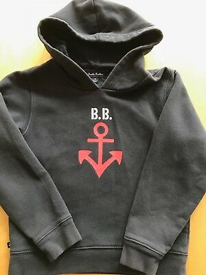 Boys Kids Brooks Brothers Fleece Navy Anchor lined Hoodie sweatshirt Small
