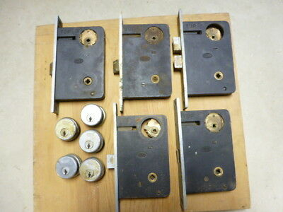 Vintage lot of 5 Corbin Commercial Door Locks selling as-is for parts