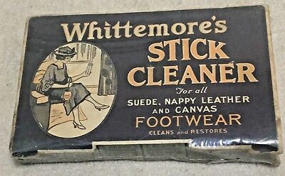 Vintage Whittemore's Shoe Cleaner Sticks & Box, Suede, Leather Canvas Circa 1910