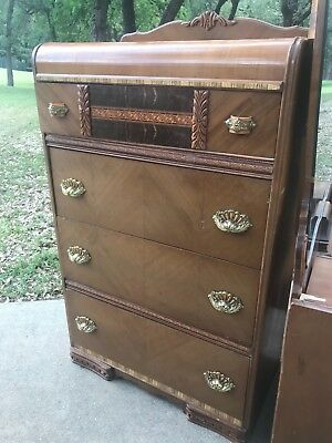 1940s Antique Waterfall Style 4 Drawer Dresser