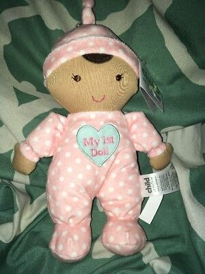 child of mine Carters My 1st doll Pink Plush Rattle Polka dots brown skin
