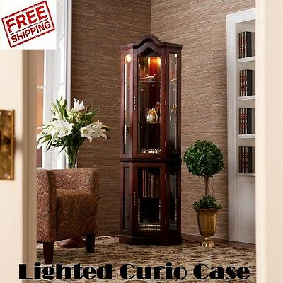 Lighted Display Cabinet Glass Corner Curio Case Shelves Gany China Wood