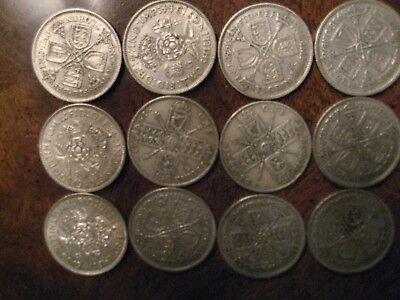 Great Britain Silver Florin Lot (Two Shillings)  12 silver coins from 1921-1944