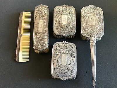 Vintage Antique International Sterling Silver Five Piece Vanity Set with Brushes