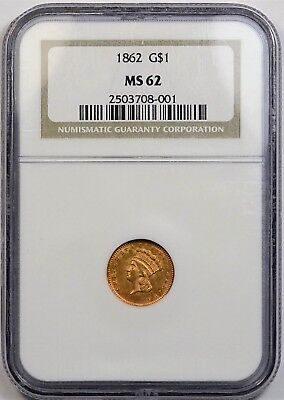 1862 Indian Head Princess $1.00 Gold Type-3 NGC MS-62 **Civil War Issue**