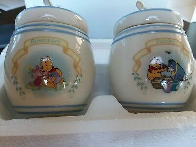 2 Lenox Walt Disney Spice Jars Winnie the Pooh Parsly and Rosemary mint