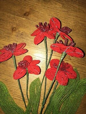 10 Pc Vintage French Beaded Flowers Handmade, 6 Red Poppies, 4 Green France EUC
