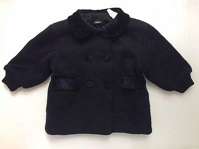 MAFRAT Made In Italy 9m 12m Girls WARM Navy Blue Merino Wool Dressy Pea Coat EUC