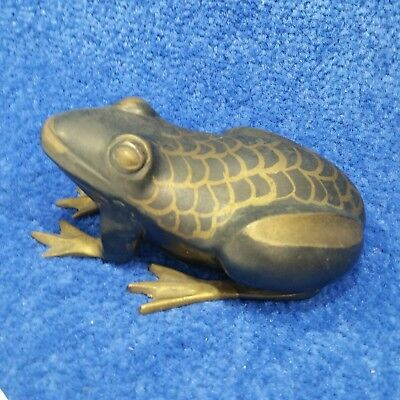 Vintage Solid Brass Frog Painted Animal Figurine India Metal Holiday Boho Heavy