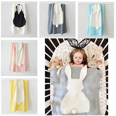 Cute Kids Baby Blanket Rabbit Ear Knitted Beach Bath Mat For Children Boys Girls