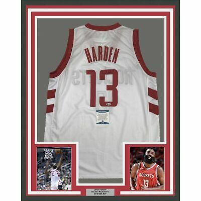 109687a65a9 FRAMED Autographed/Signed JAMES HARDEN 33x42 Houston White Jersey Beckett  COA