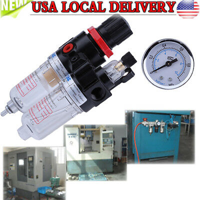 1/4'' Air Compressor Oil Water Regulator Filter Pressure Gauge Moisture Trap MAX