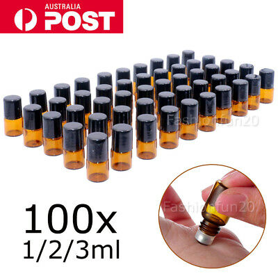 100X 1/2/3ml Roller Bottles Amber THICK Glass Steel Roll on Ball Essential Oils