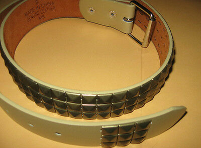 "NEW belt Gold GENUINE LEATHER BELT with Gold colored STUDS Small 32""-36""  MK"