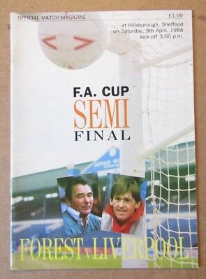 1988  Nottingham Forest v Liverpool  FA Cup Semi Final Programme  09/04/88