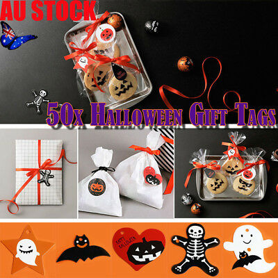 50/100/200pcs Halloween Party Gift Tags Bag Jar Box Paper Tags Cards Candy Decor