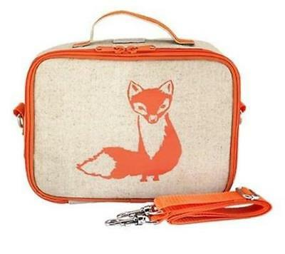 NEW So Young Insulated Lunch Bag Box Raw Linen - Orange Fox