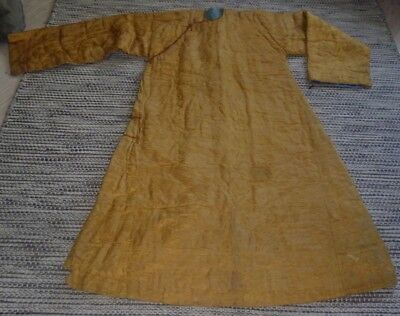 Incredible Antique Vintage Chinese Quilted Gown Robe Coat Yellow Gold Large
