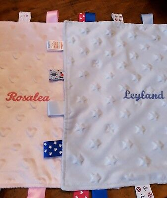 Personalised Baby Soft Dimple star/heart Comforter Taggy  Blankets
