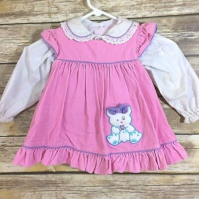 Vtg Tiny Tots Original Pink Pinafore Dress w/  Peter Pan Collar Blouse 24 Months