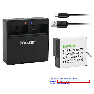 Kastar Battery Dual USB Charger for GoPro AHDBT-701 Hero 7 & GoPro HERO7 Black