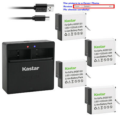 Kastar Battery Dual USB Charger for GoPro AHDBT-501 & Gopro Hero 5 Action Camera
