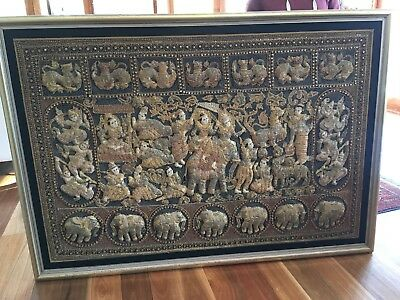 Burmese artwork embroidered. Intricately woven silver and gold thread.