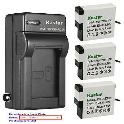 Kastar Battery AC Wall Charger Replace Genuine Gopro AHDBT-501 Hero 5 HD Black