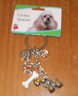 Brand New Cocker Spaniel Charms Little Gifts Dangle Keychain Dog Rescue Charity