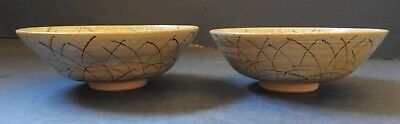 Pair Of Japanese Earthenware Bowls With Abstract Decoration - Signed