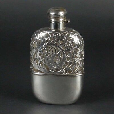 Sterling silver overlay flask liquor antique glass Alvin Art Nouveau