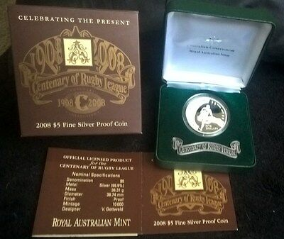 2008 Five Dollar *silver Proof Coin* -*centenary Of Rugby League* - 1.167 Oz