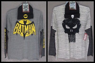 DC/Marvel Comics BATMAN 66 The PUNISHER Bioworld BEANIE T-Shirt Combo PICK ONE