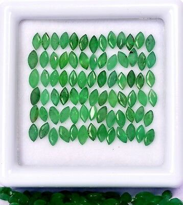 2.34 Cts Natural Emerald Marquise Cut 4x2 mm Lot 30 Pcs Faceted Loose Gemstones