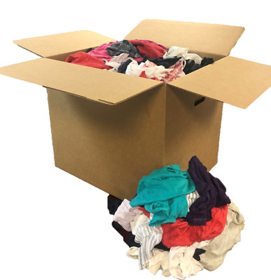 BOX OF MULTI COLORED WIPING RAGS GROSS FLEECE LOW LINT POLO T-SHIRTS 10 LBS
