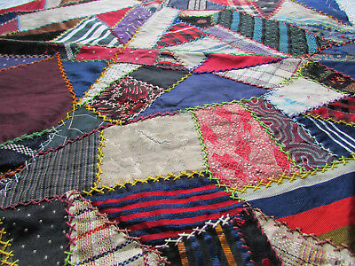 """Antique / Vintage Crazy Quilt Block or Pillow Top Embroidered 20"""" x 20"""" Cutters"""